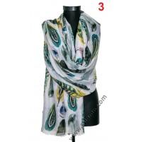 Памучен голям красив шал в 5 цвята с пера