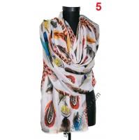 Памучен голям красив шал в 6 цвята с пера
