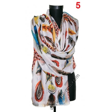 Памучен голям красив шал в 3 цвята с пера