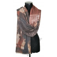 3925 Стилен дамски шал в кафяво и сиво