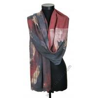 Стилен дамски шал в бордо, синьо и пепеливо розово