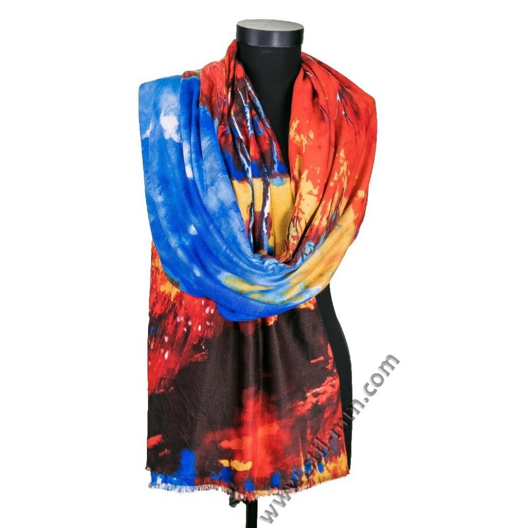 Красив дамски шал с картина - ПОСЛЕДЕН