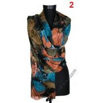 Красив дамски шал с цветя и пеперуди в 5 цвята