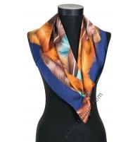 Дамски шал в тъмно синьо с пера