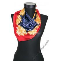 3328 Малко шалче фишу на цветя в синьо и червено с жълти цветя