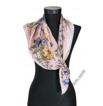 6285 Дамски шал в свелорозово с цветя
