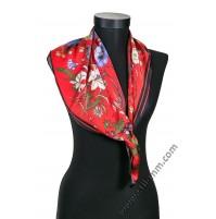 Дамски шал в червено с цветя