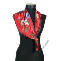 6285 Дамски шал в червено с цветя в червено