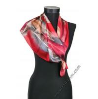 Дамски шал в червено с пера