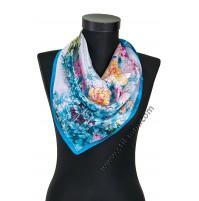 Малко шалче фишу  с красиви тюркоазено сини цветя