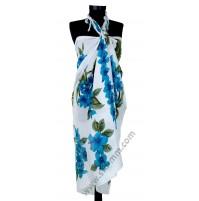 Плажен шал със сини цветя
