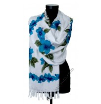 Красив памучен шал със сини цветя
