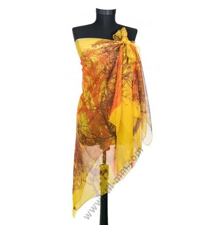 Голям плажен копринен шал в жълто с дърво