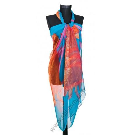Голям плажен копринен шал в синтюркоаз с лалета