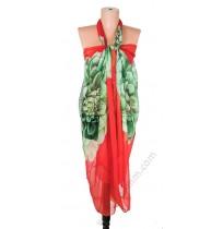 097 Голям плажен копринен шал в червено със зелен божур