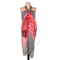097 Голям плажен копринен шал в сиво с червен божур