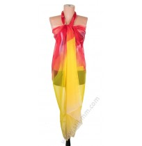 097-2 Голям плажен копринен шал в жълто с червена роза