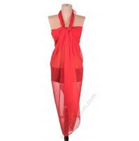1230 Голям плажен копринен шал в червено