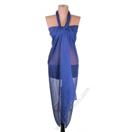 1230 Голям плажен копринен шал в синьо