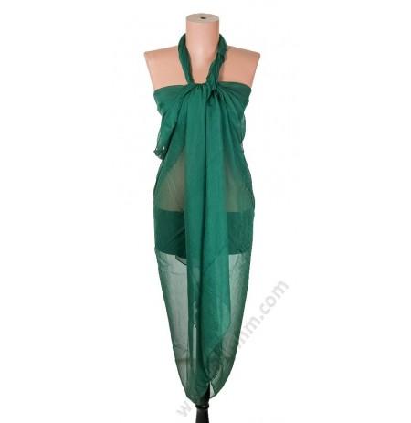 1230 Голям плажен копринен шал в тъмнозелено