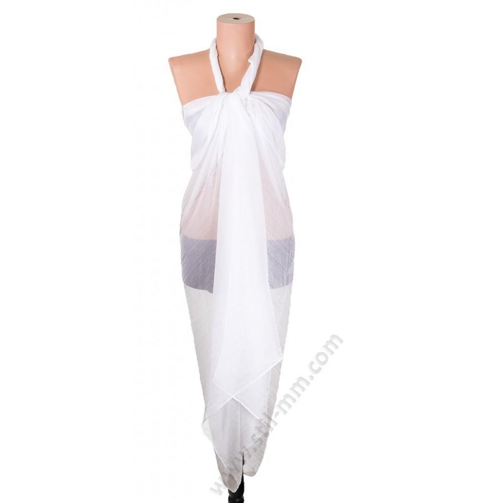 1230 Голям плажен копринен шал в бяло