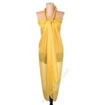 1230 Голям плажен копринен шал в горчица