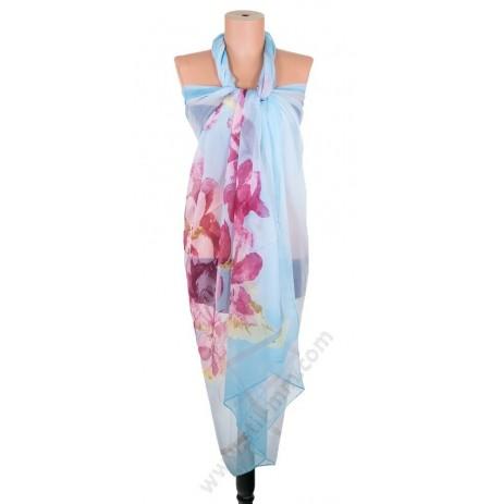 097-1 Голям плажен копринен шал с цветни петна