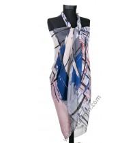Голям плажен шал в синьо, сиво и розово