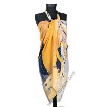 Голям плажен шал в  жълто, синьо  и бяло