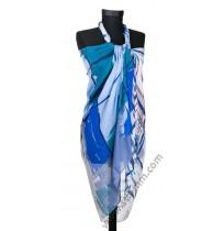 Голям плажен шал в синьо