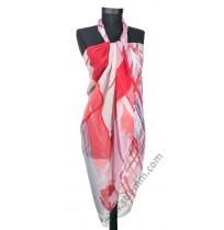 Голям плажен шал в червено, розово и бяло