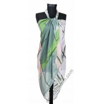 Голям плажен шал в зелено, пудра и сиво