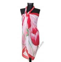 3093 Красив плажен шал в светлорозово с червени лалета