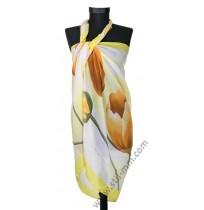 3093 Красив плажен шал в светложълт с жълти лалета