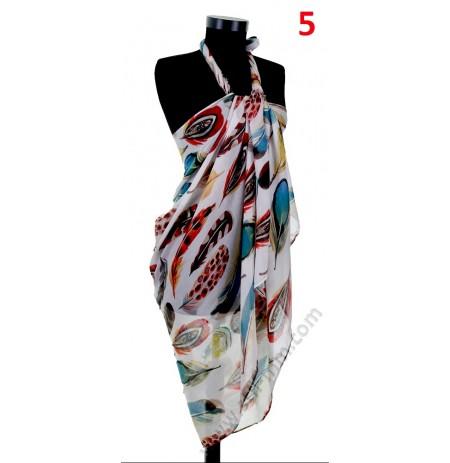 Красив плажен шал с цветни пера в 5 цвята