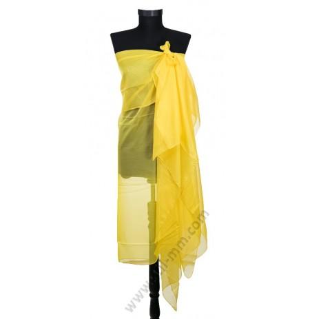 6832 Голям плажен копринен шал в жълто