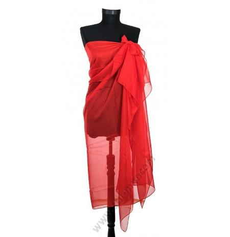 6832 Голям плажен копринен шал в червено
