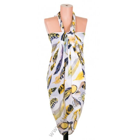 3095 Красив плажен шал в светложълт с жълти пера