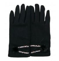 Ватирани дамски ръкавици в черно с пухче - ПОСЛЕДНИ