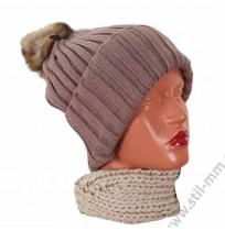 Плетена шапка с еко помпон - ПОСЛЕДНА