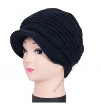 14225 Дамска плетена вълнена шапка в тъмносиньо