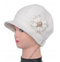 14224 Плетена зимна вълнена шапка в бяло